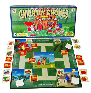 Gnightly Gnomes Game Box and Board set with Pieces in Play