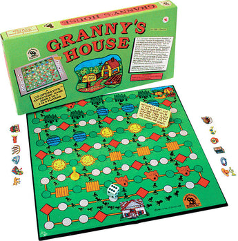 Granny's House Game Box, Board and Pieces Displayed in Play