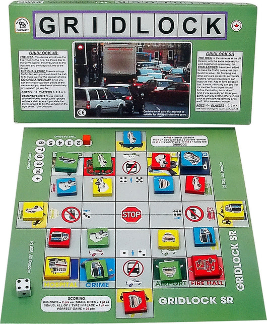 Gridlock Game Board, Box and Pieces Displayed in Play