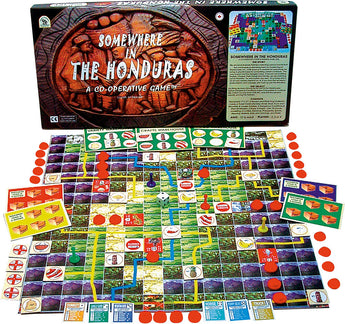 Somewhere In The Honduras Game Displayed with Board, Box and Pieces in Play