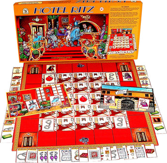 Hotel Ritz Game Box, Board and Pieces Displayed as in Play