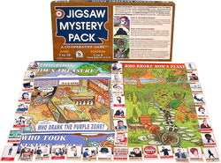 Jigsaw Mystery Puzzle Pack Game Box, Board and Pieces Displayed as in Play
