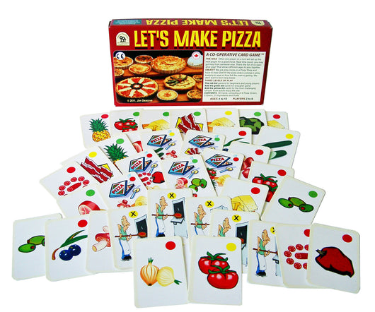 Let's Make Pizza Game Box and Cards Displayed