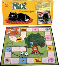 Max (the Cat) Game Box, Board and Pieces set up to Play