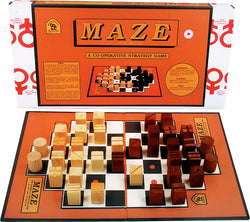 Maze Game Box, Board and Pieces set up to Play