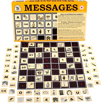 Messages Game Box, Board and Pieces set up to Play