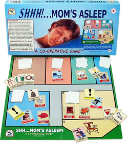 Shhh...Mom's Asleep Game Displayed with Board, Box and Cards