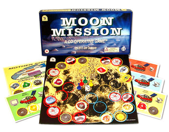 Moon Mission Game Board, Box and Pieces Displayed
