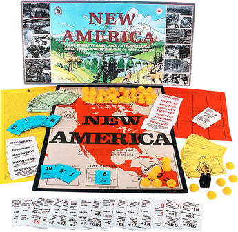 New America Game Box and Board Dispalyed with Pieces