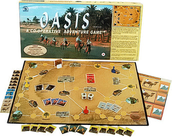 Oasis Games Board, Box and Pieces Displayed as in Play