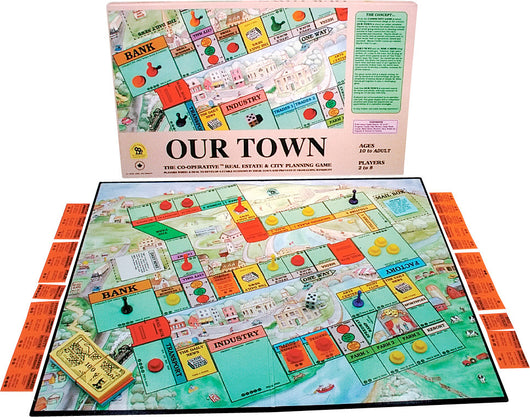 Our Town Game Box, Board and Pieces set up to Play
