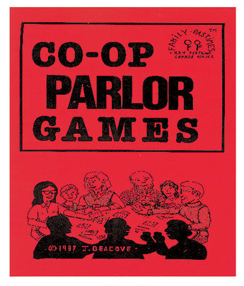 Cover of Co-op Parlor Games Book (Red with Illustration of children playing a game at a large table)