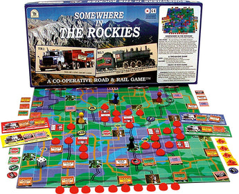 Somewhere in the Rockies Game Box, Board and Pieces Displayed ready to Play