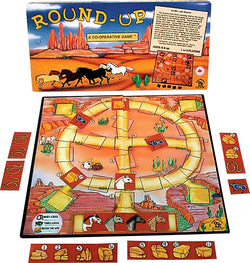 Round-Up Game Box, Board and Pieces set up to Play! Giddy-Up!