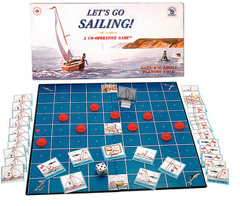 Let's Go Sailing Game Board, Box and Pieces Displayed in Play