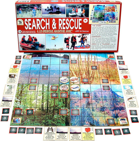 Search and Rescue Games Box, Board and Pieces arranged for Play