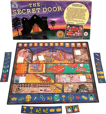 The Secret Door Game Box, Board and Pieces ready to Play