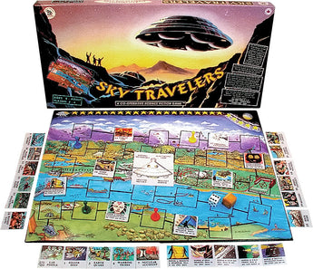 Sky Travelers Game Box, Board and Pieces ready to Play