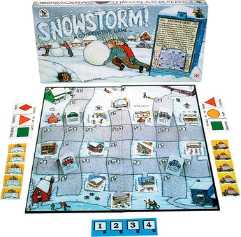 SnowStorm Game Box, Board and Pieces on Display