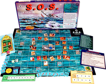 S.O.S. Game Box, Board and Pieces set up to Play