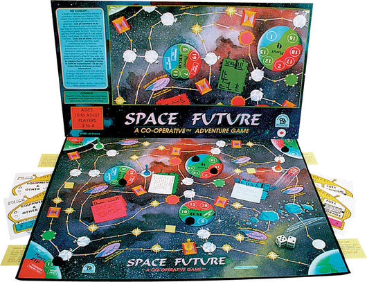 Space Future Game displayed with Box, Board and Pieces Ready to Play