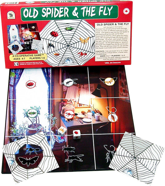 Old Spider and the Fly Game Board, Box and Pieces Displayed in Play