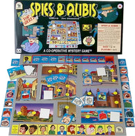 Spies & Alibis Board Game, Box and Pieces Displayed Ready for Play