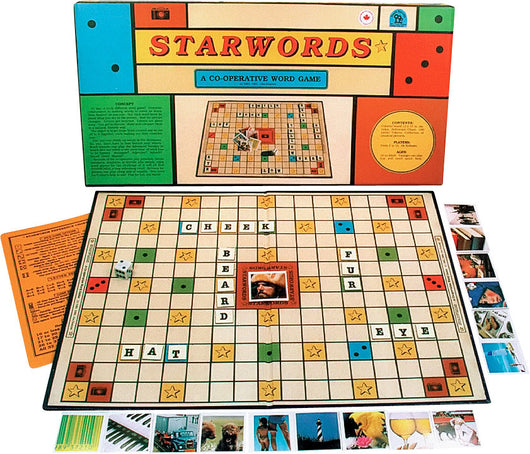 Starwords Game Board, Box and Pieces Displayed in Play