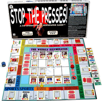 Stop the Presses! Box, Game Board and Pieces displayed in Play