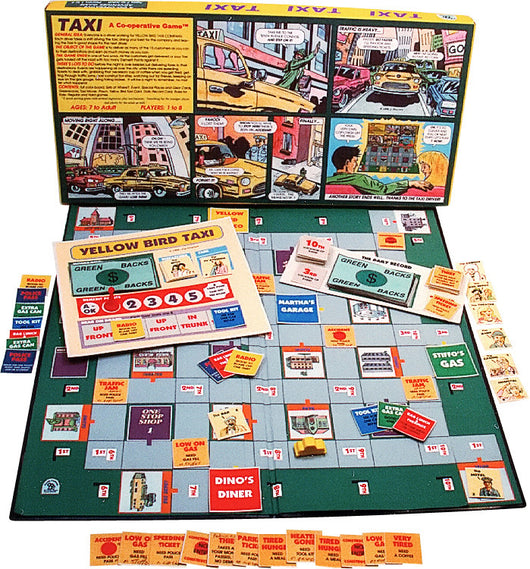 TAXI! Game Displayed with box, Board and Pieces ready to Play