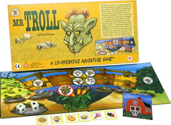 Mr Troll Game Box, Board and Pieces set up to Play