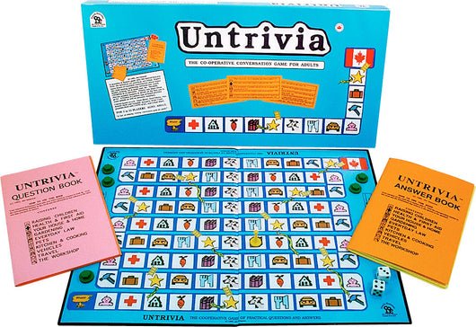 Untrivia Game Box, Board, Rules and Pieces ready to Play