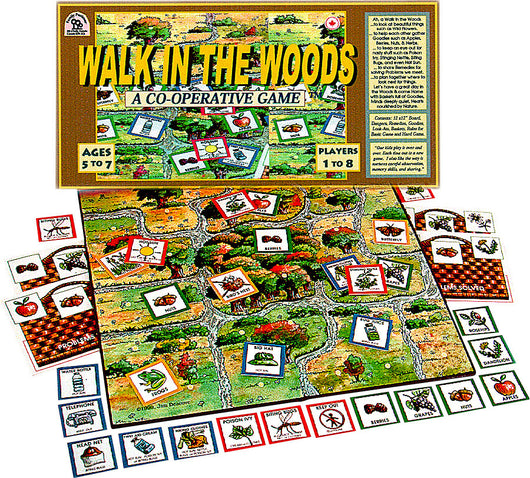 Walk in the Woods Game Box, Board and Pieces Displayed