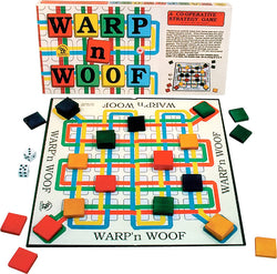 Warp 'n Woof Game Board, Box and Pieces Displayed as in Play