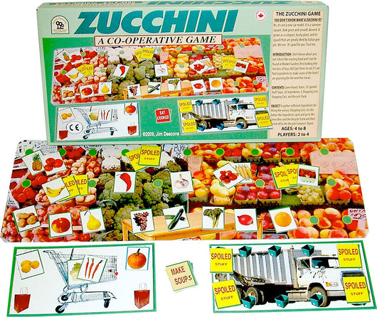 Zucchini Game with Box, Board and Cards set up for Play