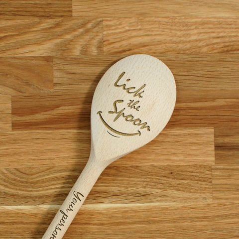 Engraved Personalized wooden SPOON Lick the Spoon!