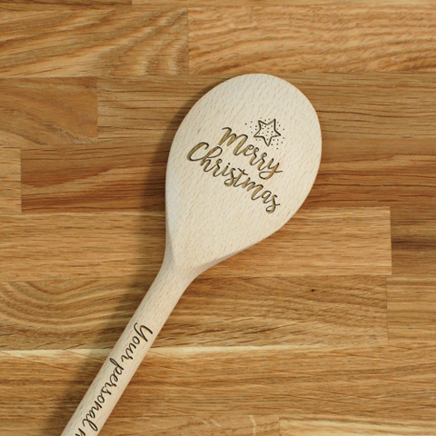 Engraved Personalized wooden SPOON Merry Christmas