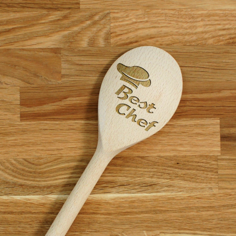 Engraved Personalized wooden SPOON Best Chef