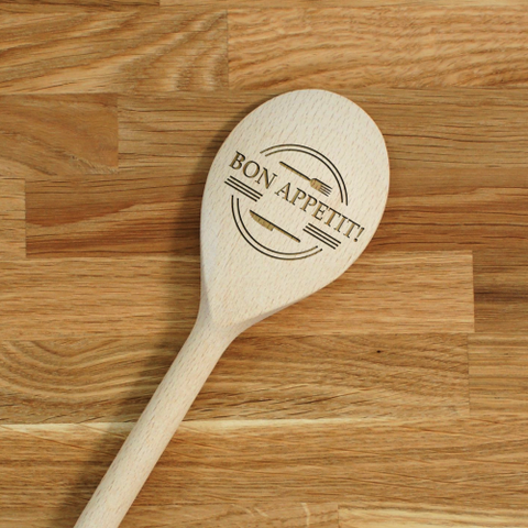 Engraved Personalized wooden SPOON Bon Appetit!