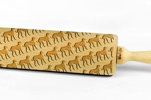 AZAWAKH - Engraved rolling pin, embossing rolling pin with dog breed pattern by Wood's Good Made in UK