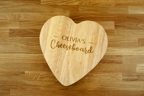 Personalised Engraved Heart Shaped Cheese Board Gift Set - ANY NAME Cheeseboard