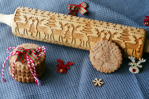 CHRISTMAS DEERS ELK  engraved embossed embossing rolling pin BIG christmas reindeers elk engraved embossing rolling pin gift kitchen utensil cookie cutter