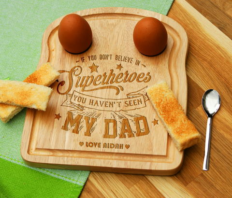 Personalised Engraved EGG & TOAST Board - DAD SUPERHERO