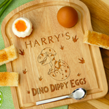 Personalised Engraved EGG & TOAST Board - DINO DIPPY EGGS