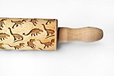 DINOSAURS Rolling pin, Laser engraved rolling pin with dinos.  Embossing ROLLING PIN, Engraved kids dinosaurs rolling pin Embossed Rolling Pin, Dough Roller, Pattern Roller, Cookie Stamp Laser Engraved Rolling Pin, Christmas Gift, Birthday gift funny dinos pattern cookies, Dinosaurs rolling pin, Cookies with dinosaurs pattern, Best rolling pin, Funny gift for baking lovers  Wood's Good