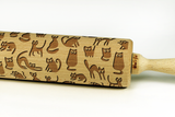 funny cats rolling pin, cats pattern cookies, best gift for bakers, cats engraved rolling pin, laser rolling pin, funny cats cookies, best houseware, woodsgood