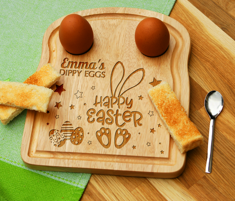 Personalised Engraved Happy Easter Egg Toast Breakfast Board for Dippy Egg & Soldiers Easter Children Gift - Made in UK -