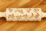 Engraved Embossing Embossed EASTER RABBITS MINI KIDS SIZED rolling pin wooden laser cut pattern unique design by Wood's Good