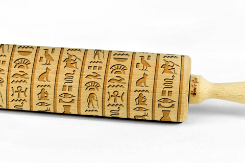 Engraved Embossing Embossed HIEROGLYPHS EGYPTIAN BIG rolling pin wooden laser cut pattern unique design