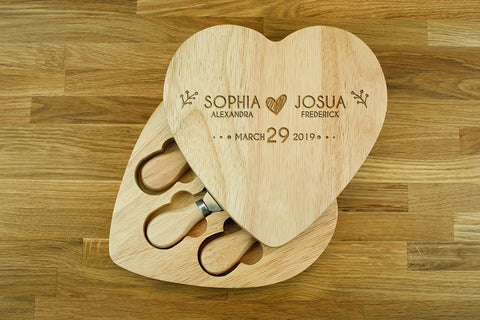 Engraved Heart Shaped Cheese Board Gift Set - WEDDING ANNIVERSARY GIFT